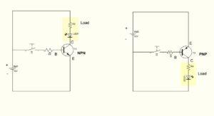 Plaatje van schema NPN en PNP transistor